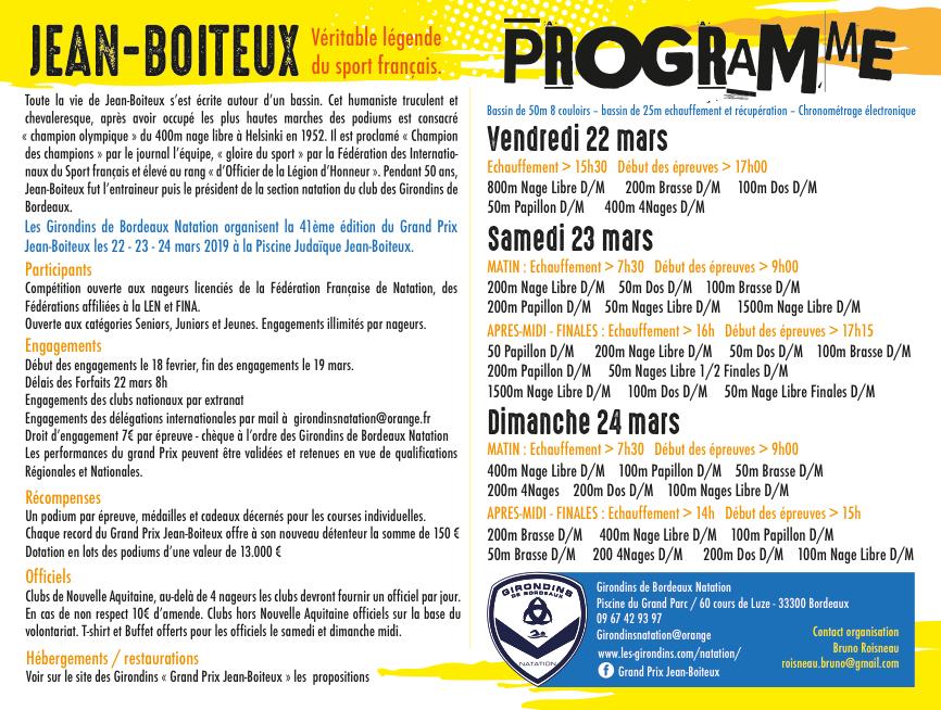Girondins Natation - Événement - Grand prix Jean-Boiteux 2019